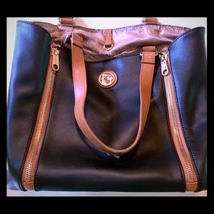 Spartina Black Leather Hound's Tooth Handbag